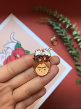 Load image into Gallery viewer, rose gold frida khalo with cat empowering women feminist enamel pin