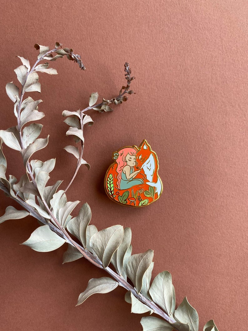 Fox and Girl Enamel Pin