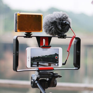 Package: Camera Cage Stabilizer with Mic and Light
