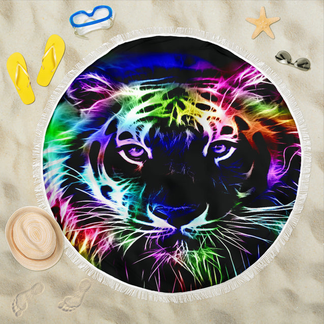 Colourful Tiger Beach Blanket