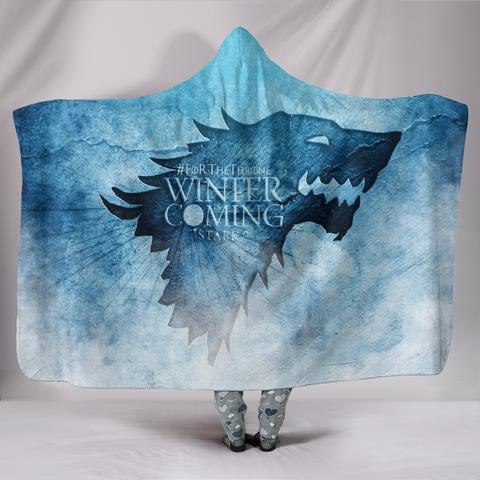 WINTER IS COMING FOR THE THRONE HOODED BLANKET ( PREMIUM SHERPA )