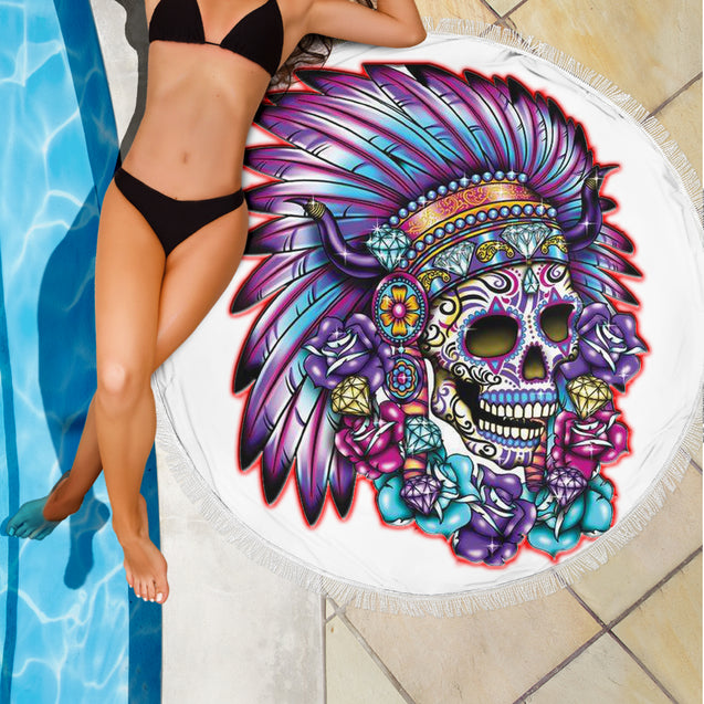 Chief Skull Round Blanket