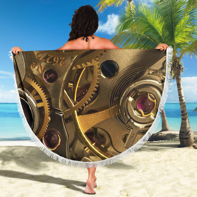 Gears Round Towel
