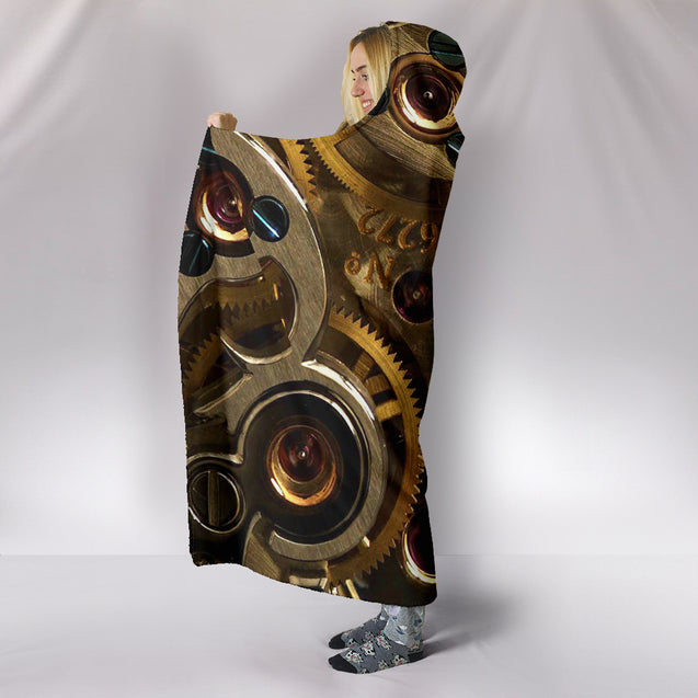 Steampunk Gears Hooded Blanket