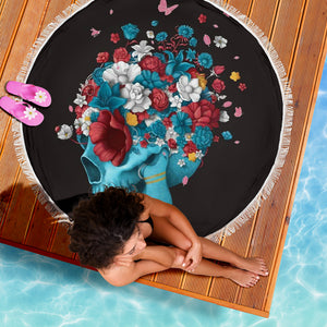 Flower Skull Round Beach Blanket
