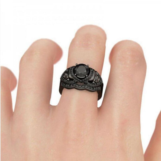 ZIRCON DEMON SKULL ZIRCON ENGAGEMENT RING SET