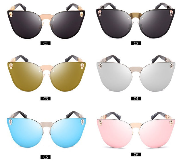 SKULL FRAME METAL TEMPLE SUNGLASSES
