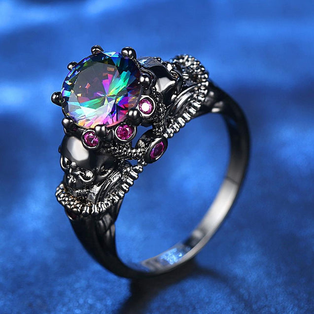 SKULL CZ SILVER PUNK VALENTINE'S PROMISE RING
