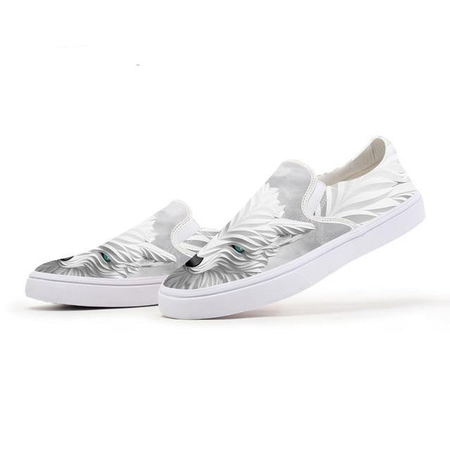 3D White Wolf Slip On Shoes