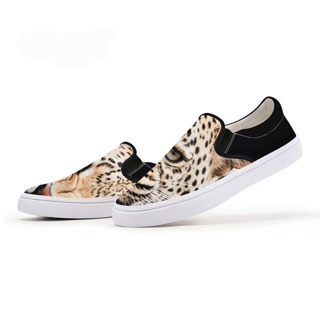 3D  Leopard Slip On Shoes