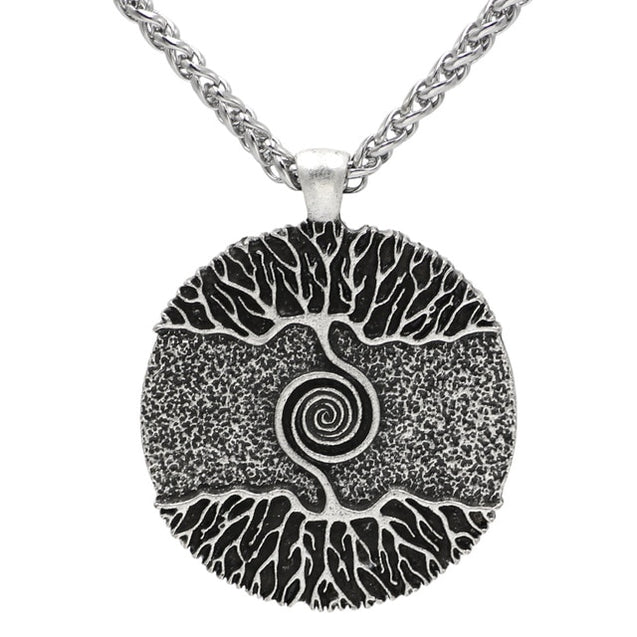 Vikings Amulet The Tree of Life Yggdrasil Nordic Talisman Pendant Necklace - Stainless Steel Chain