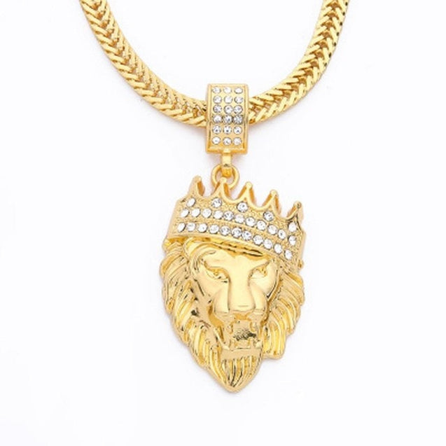 Mens Full Iced Rhinestone An crown Lion Tag necklaces pendants Hip hop Cuban Chain Hip Hop Necklace Gold Jewelry For Male #7-8