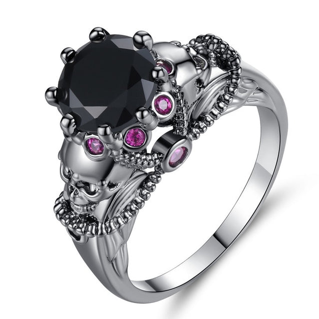 Skull Ring With Crystal Decoration