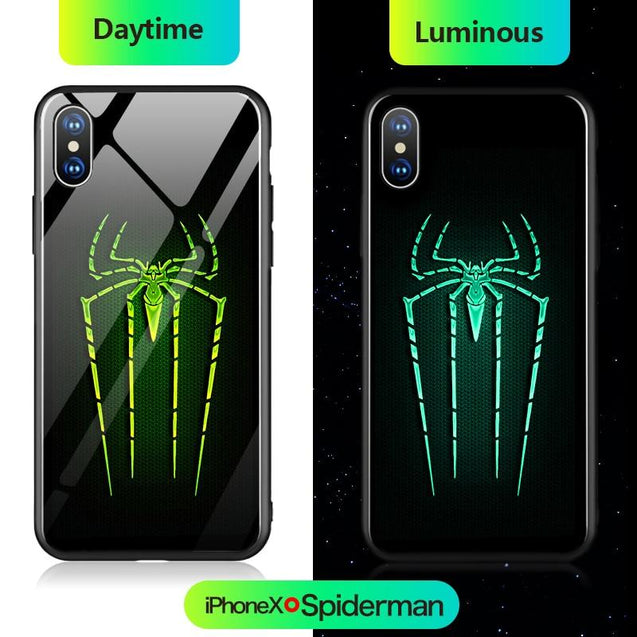 Marvel Iron Man Batman Spiderman Thanos Luminous Glass Phone Case For iPhone XSmax XR XS X 8 7 6 6s Plus Avengers Cover Coque