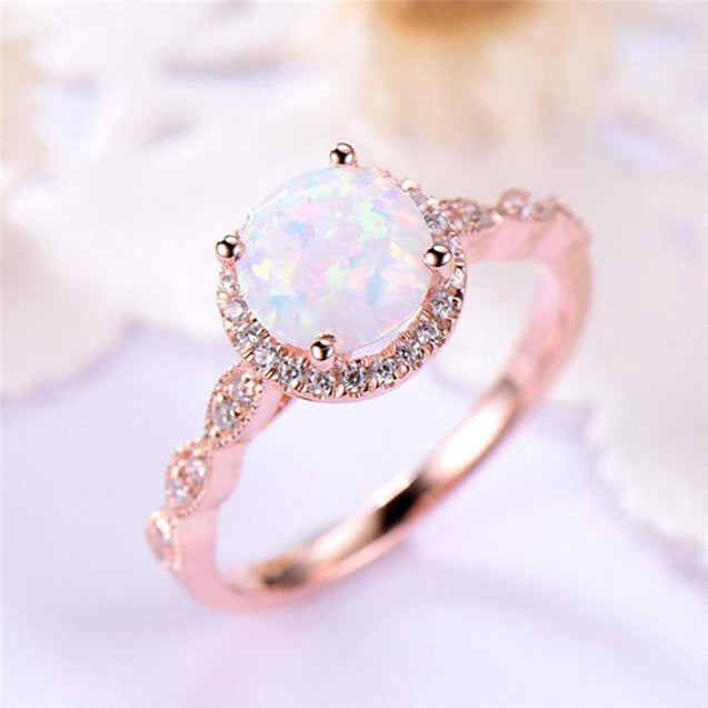 Round Fire Opal Ring with Rose Gold