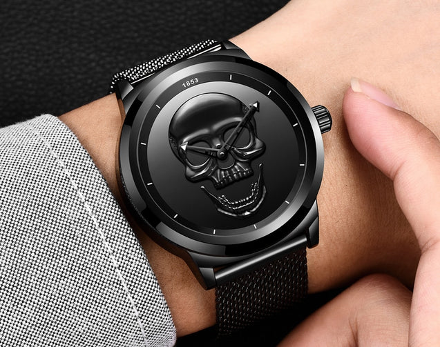 Stainless Steel Skull Watch