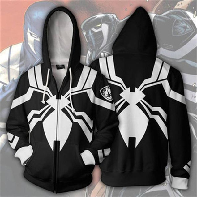 Dropshipping Movies Venoms Spiders Anime Super Hero  Cosplay 3D Prints Zippers Cardigan Hooded Sport Jacket Halloween Hoodies