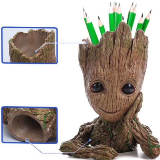 Marvel Avengers Guardians of The Galaxy Baby Tree Flowerpot Action Figures Cute Model Toys Pen Pot Home Decorations
