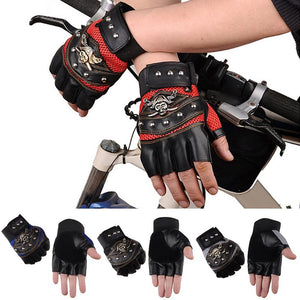 1 Pair Men Women Skull Pattern Non-Slip Half Finger Gloves Breathable Shockproof PU Leather Bike Cycling Gloves