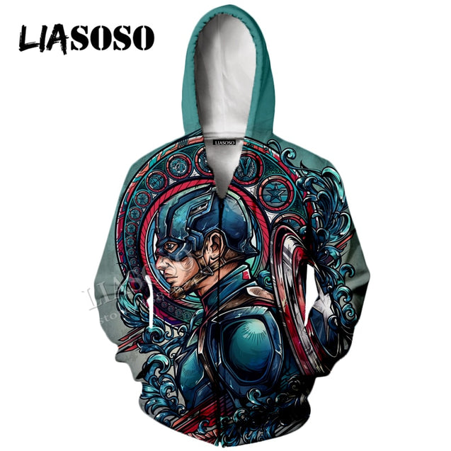 LIASOSO neutral pullover Marvel movie 3D printing Captain America hand-painted  sweatshirt/ Hooded top / zipper hoodie CX068
