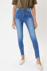 High Rise Button Fly Distress Bottom Skinny Jeans