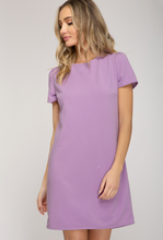 Load image into Gallery viewer, Short Sleeve Shift Dress- Lavender