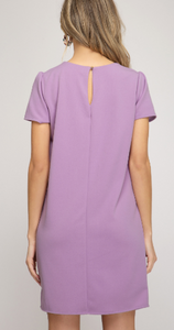 Short Sleeve Shift Dress- Lavender