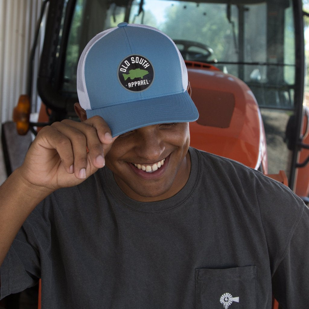 Old South Bass Trucker Hat Carolina Blue/ White