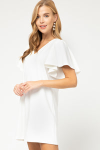 V-Neck Short Ruffled Sleeve Dress in White