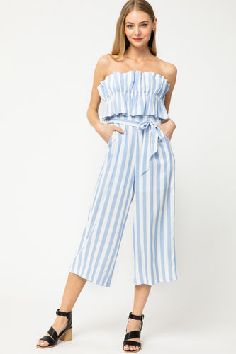 Striped Ruffle Top Jumpsuit in Blue