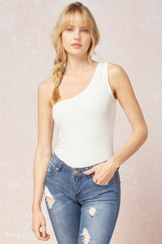 Ribbed One Shoulder Bodysuit in White