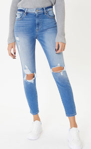 Distressed High Rise Super Skinny Jeans