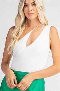 Asymmetrical One Shoulder Bodysuit in White