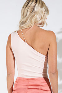 Asymmetrical One Shoulder Bodysuit in pink