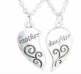 Fashion 2Pcs Silver tone, Mother\Daughter Necklace, Silver Heart,Love Mom Necklaces & Pendants For Women