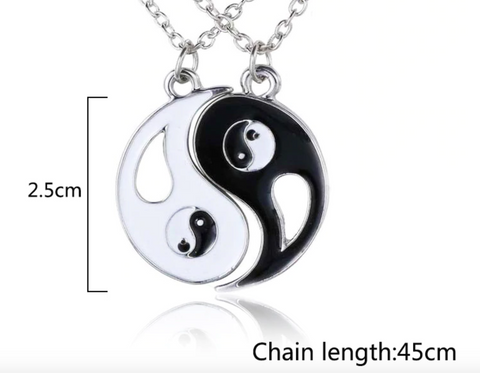 2 piece Necklace Friendship Tai Chi Trendy, Black and White Couples, Unisex Silver Best Friend Jewelry Men/Woman Pendant Ying Yang, Forever