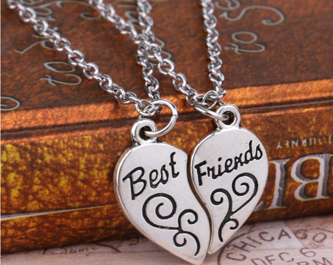 2PCS Best Friends Forever, Heart Necklace Pendant, Friendship Strip Pattern Statement, Jewelry