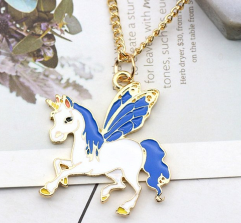 Handmade Unicorn Pendant 3 Colors blue/white & gold, Unicorn Necklace Gold Chains Childhood Necklaces Women Girls Kids