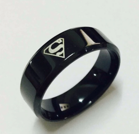 Cool boys girls 8mm Carbon steel black superman hero rings for men women high quality USA size 6-13