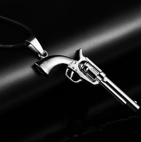 "Gun Stainless Steel Necklace Leather Chain Pendant Fashion men""s Necklaces Jewelry"
