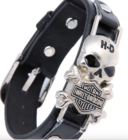 New Fashion Leather Skull Bracelets Handmade Rock Punk Style Pulseras Stainless Steel Men Charms Bracelets