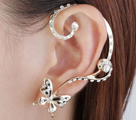 Butterfly Clip On Earrings New Multiple Color Classic Fashion Jewelry For Girls Korean New Brand Ear Cuff Fashion Jewelry
