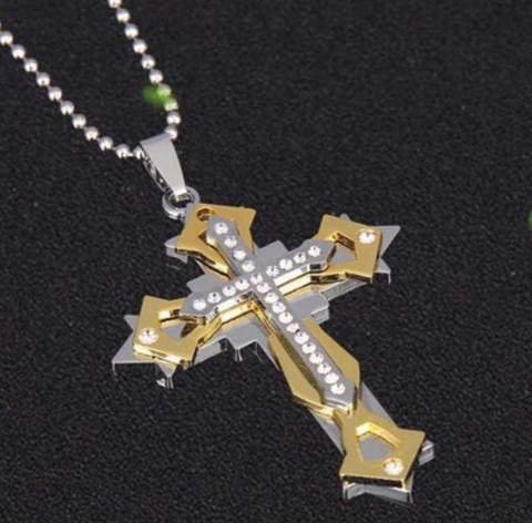 Men Metal Three-layer Stainless Steel Pendant Crystal Cross Necklace Jewelry