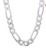 "Men's sterling silver jewelry 10mm 20"" figaro style Chain from Italy"