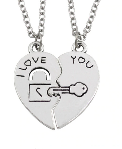 2 Pieces/ I Love You Best Friends Couple Necklace Jewelry Puzzle BFF Key Lock Tai Chi Heart Pendants Necklaces For Women Men