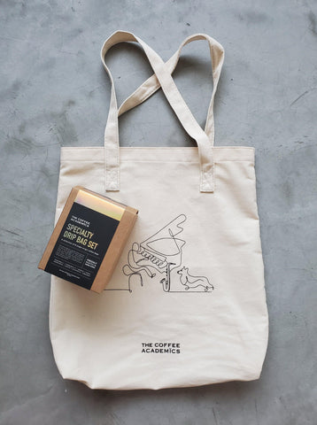 "Limited Edition ""Music & Paws"" Charity Tote Bag + Single Origin Coffee Drip Bag Tasting Set - The Coffee Academics"