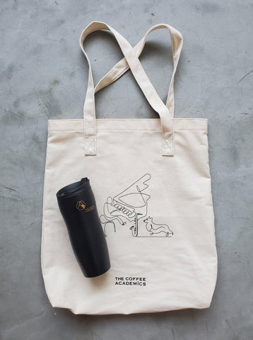 "Limited Edition ""Music & Paws"" Charity Tote Bag + Reusable Coffee Travel Tumbler - The Coffee Academics"