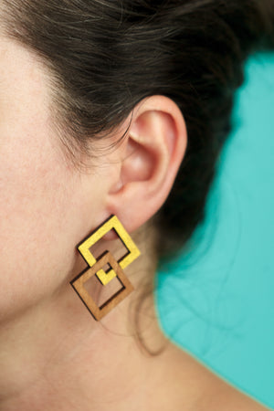 Earrings 2 squares - Lolamohe
