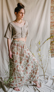 Harem Skirt Pants - soft pink/sage