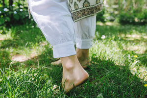 Yogi ankle - white cotton-linen